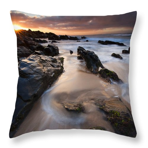 Basham Beach Throw Pillow featuring the photograph On The Rocks by Mike Dawson