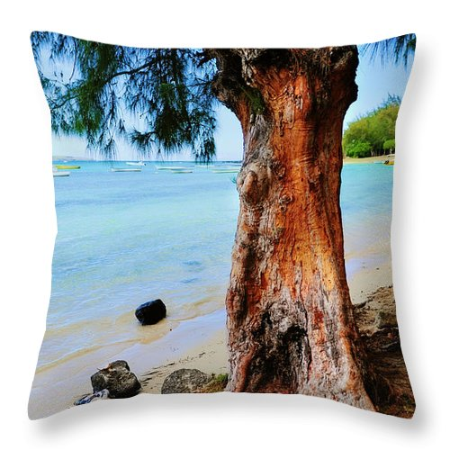 Tropic Throw Pillow featuring the photograph On The Shore 1. Mauritius by Jenny Rainbow