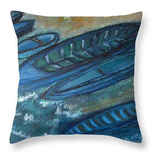 Boats Throw Pillow featuring the drawing On The Shore by Alina Cristina Frent