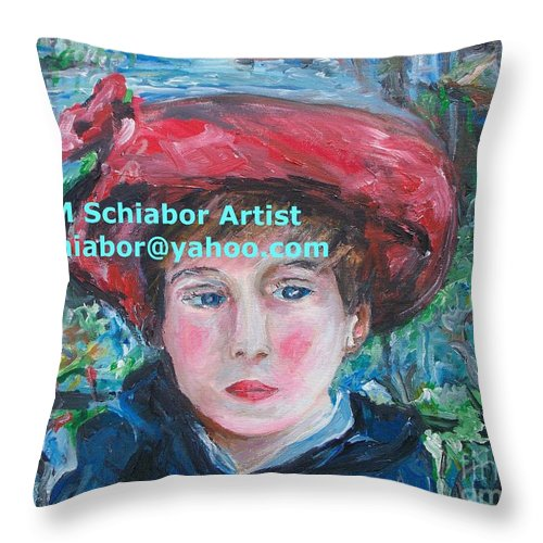 Renoir Throw Pillow featuring the painting On The Terrace Renoir Rendition by Eric Schiabor