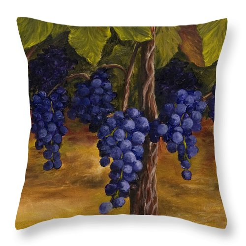 Kitchen Art Throw Pillow featuring the painting On The Vine by Darice Machel McGuire