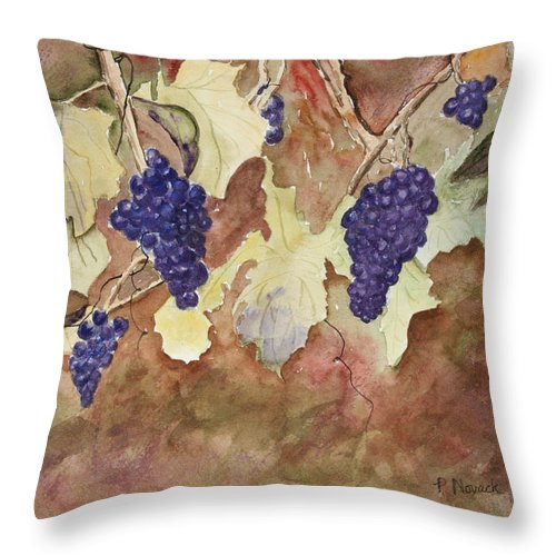 Grapes Throw Pillow featuring the painting On The Vine by Patricia Novack