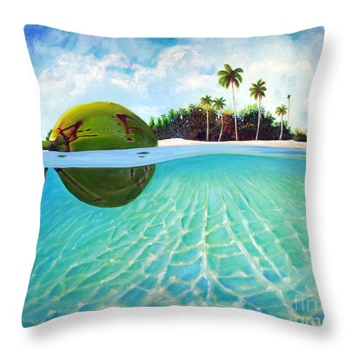 Coconut Throw Pillow featuring the painting On The Way by Jose Manuel Abraham