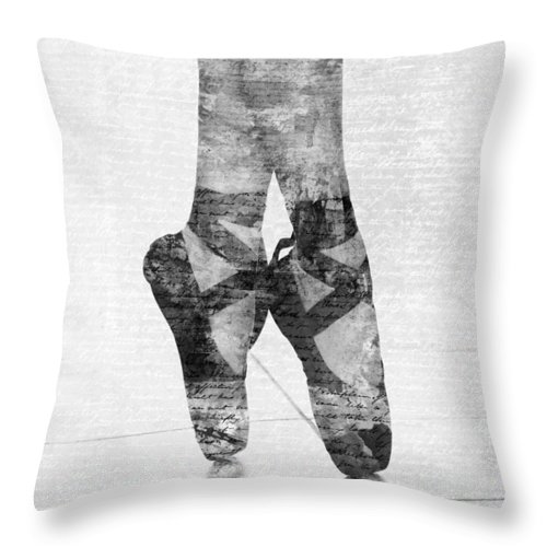 Ballet Throw Pillow featuring the digital art On Tippie Toes In Black And White by Nikki Marie Smith