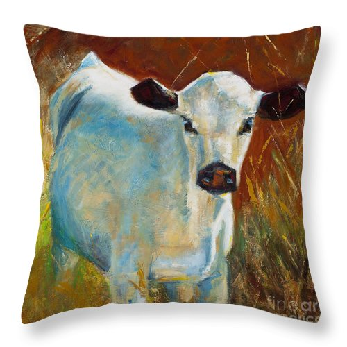 Cows Throw Pillow featuring the painting Once In A Blue Moon by Frances Marino