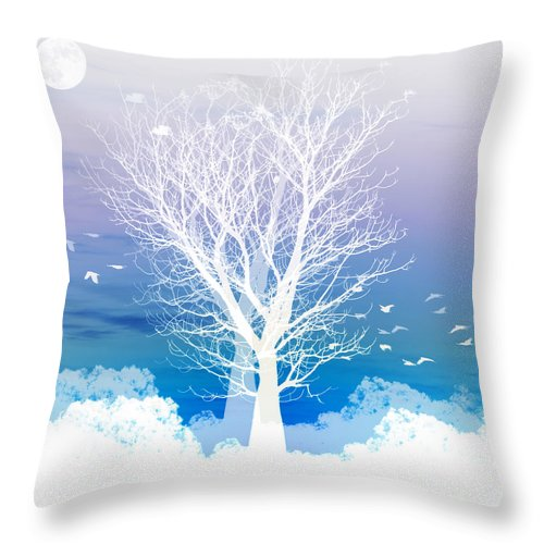 Tree Throw Pillow featuring the photograph Once Upon A Moon Lit Night... by Holly Kempe