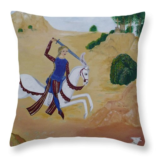 Joan Of Arc On Her White Horse Throw Pillow featuring the painting Once Upon A Time by Coco de la garrigue
