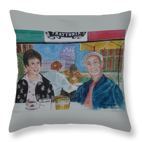 Leaning Tower Of Pisa Frank Self Portrait Joy Honeymoon Throw Pillow featuring the painting Joy And Frank Once Upon A Time In Tuscany by Frank Hunter