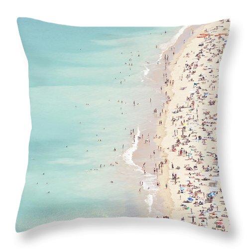 Water's Edge Throw Pillow featuring the photograph Ondarreta Beach, San Sebastian, Spain by John Harper