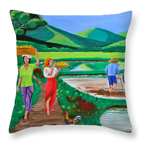Carabao Throw Pillow featuring the painting One Beautiful Morning in the Farm by Cyril Maza