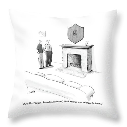 New York Times Throw Pillow featuring the drawing One Man Shows Off A Framed Crossword by Julia Suits
