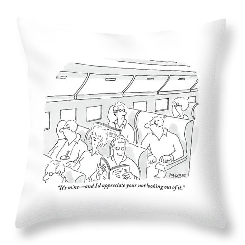Windows Throw Pillow featuring the drawing One Man, Sitting In The Window Seat Of A Plane by Jack Ziegler