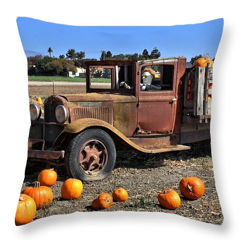 Antique Throw Pillow featuring the photograph One More Pumpkin by Michael Gordon