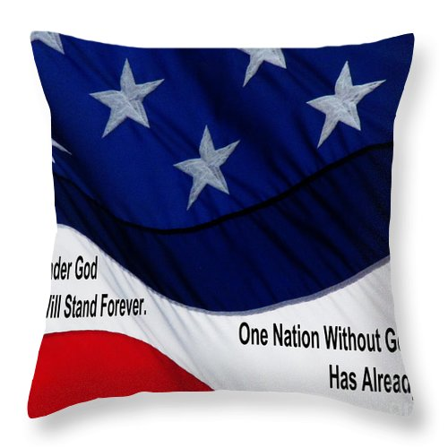 Jesus Christ Throw Pillow featuring the photograph One Nation Under God by Ron Tackett
