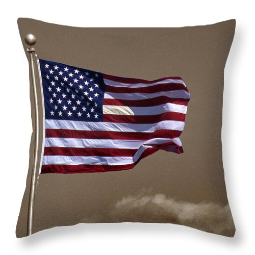 Flag Throw Pillow featuring the photograph One Nation Under God by Skip Willits
