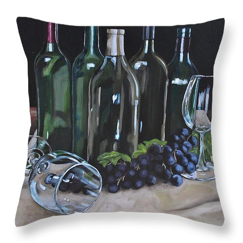 Wine Throw Pillow featuring the painting One Too Many by Melissa Torres