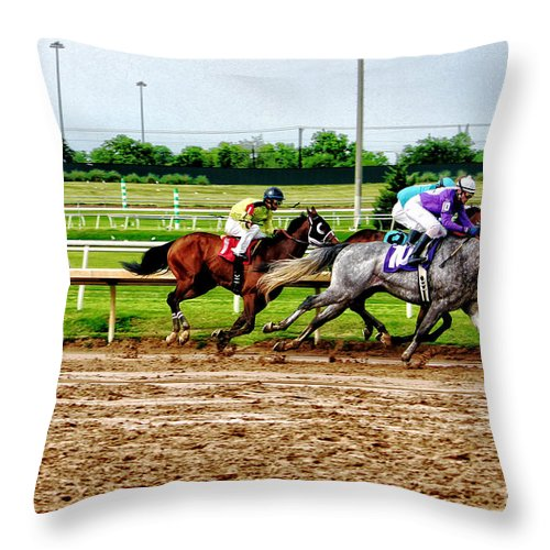 Horse Racing Throw Pillow featuring the photograph One Two Three 026mx by Earl Johnson