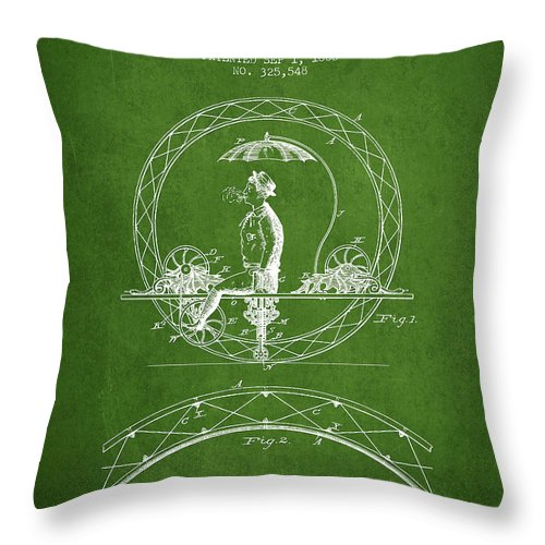 Bicycle Patent Throw Pillow featuring the digital art One Wheeled Vehicle Patent Drawing From 1885 - Green by Aged Pixel
