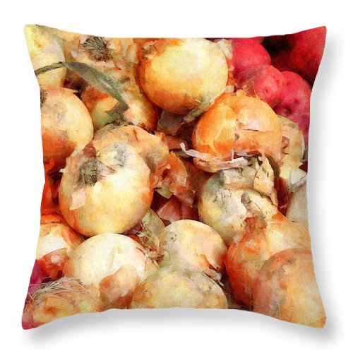 Onion Throw Pillow featuring the photograph Onions Closeup by Susan Savad