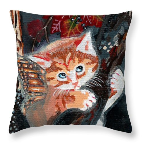 Catterfly Throw Pillow featuring the painting Oops Fairy Kitten by Bronwen Skye