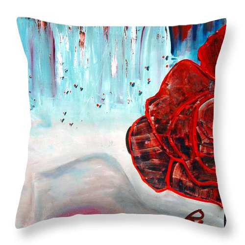 Landscape Throw Pillow featuring the painting Op And Rose by Peggy Blood