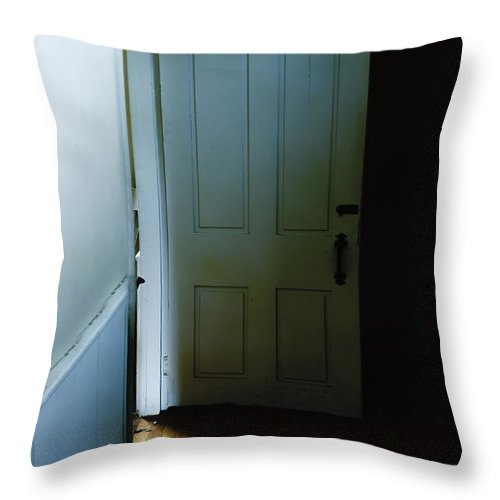 Door Throw Pillow featuring the photograph Open Door In Dark Hall by Margie Hurwich