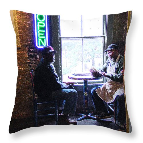Black Throw Pillow featuring the photograph Open For Business by Suzanne Gaff