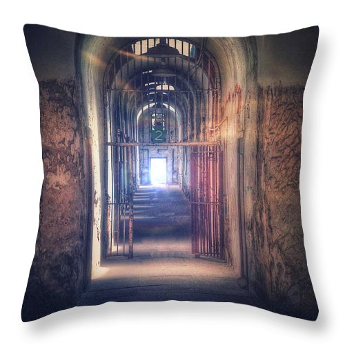Gate Throw Pillow featuring the photograph Open Gate To Prison Hallway by Jill Battaglia