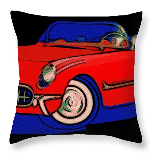 Corvette Throw Pillow featuring the painting Open Road Dream by Florian Rodarte