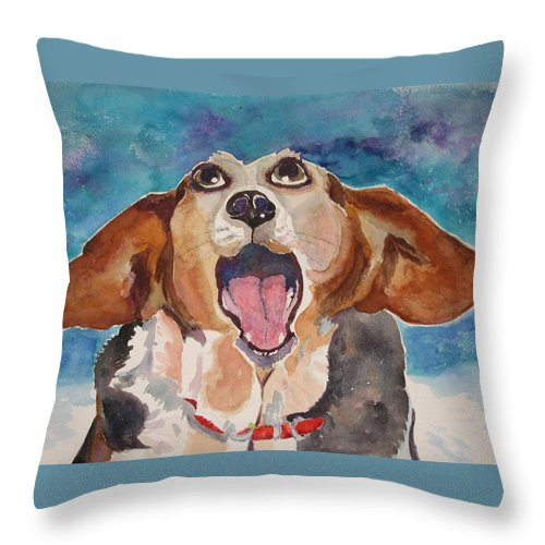 Basset Hound Throw Pillow featuring the painting Opera Dog by Brenda Kennerly