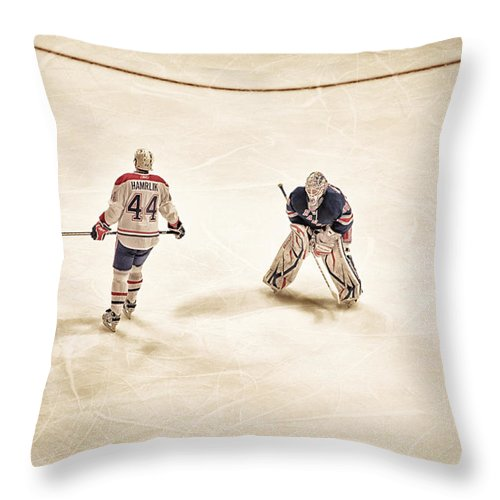Hockey Throw Pillow featuring the photograph Opponents by Karol Livote