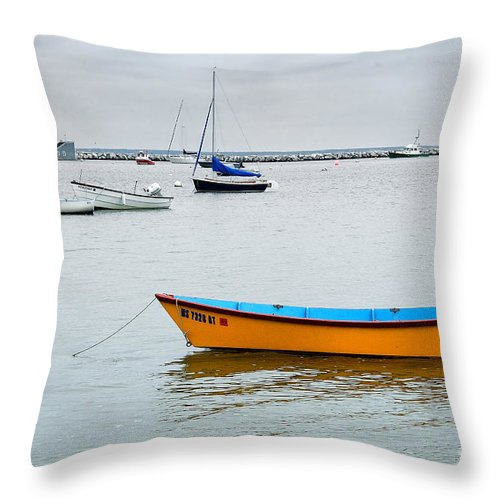 Boat Throw Pillow featuring the photograph Orange And Blue by Edward Sobuta