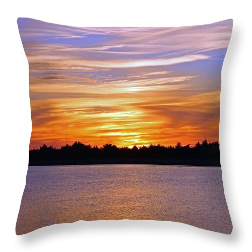 Sky Throw Pillow featuring the photograph Orange And Blue Sunset by Cynthia Guinn
