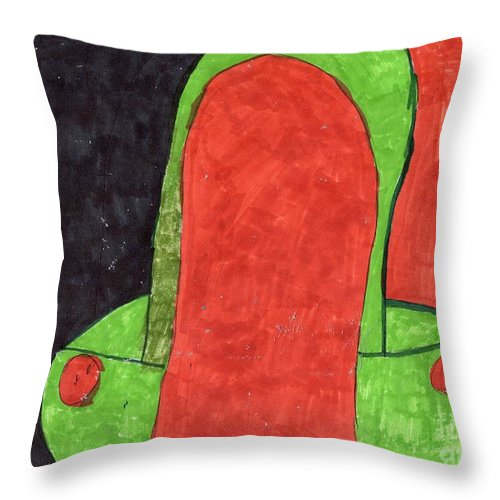 Girl In Orange With A Green Purse Throw Pillow featuring the mixed media Orange And Green by Elinor Helen Rakowski