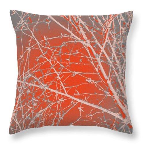 Orange Throw Pillow featuring the digital art Orange Branches by Carol Lynch