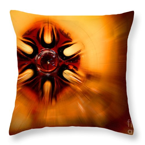 Abstract Throw Pillow featuring the photograph Orange Burst Abstract by Karen Adams