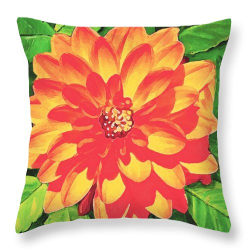 Dahlia Throw Pillow featuring the painting Orange Dahlia by Sophia Schmierer