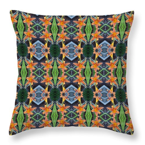 Day Throw Pillow featuring the photograph Orange Day Lily Design by Nicki Bennett