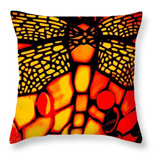 Lamp Throw Pillow featuring the photograph Orange Dragonfly by Chris Berry