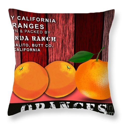 Orange Throw Pillow featuring the mixed media Orange Farm by Marvin Blaine