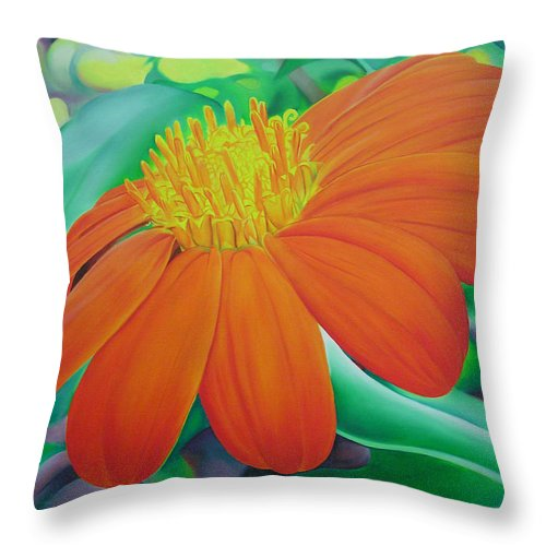 Flowers Throw Pillow featuring the painting Orange Flower by Joshua Morton