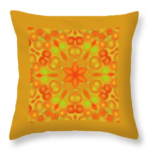 Digital Art Throw Pillow featuring the digital art Orange Flower Mandela by Karen Buford