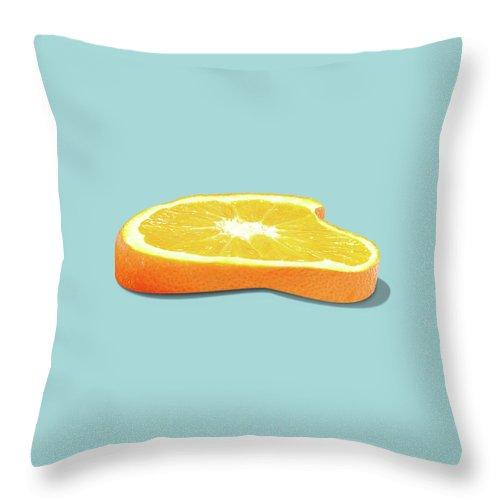 Orange Throw Pillow featuring the photograph Orange Fruit Slice by Dan Cretu