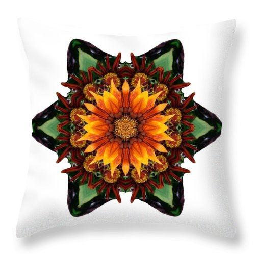 Flower Throw Pillow featuring the photograph Orange Gazania IIi Flower Mandala White by David J Bookbinder
