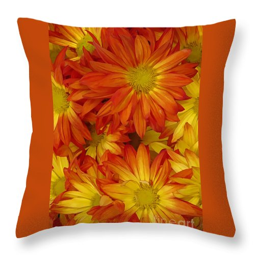Yellow Throw Pillow featuring the digital art Orange Gazania by Peter Piatt