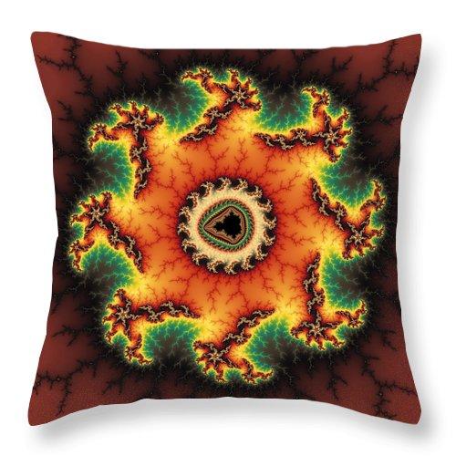 Fractal Throw Pillow featuring the digital art Orange Green And Yellow Fractal Artwork by Matthias Hauser