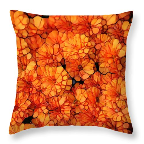 Orange Mums Throw Pillow featuring the mixed media Orange Mums by Dan Sproul