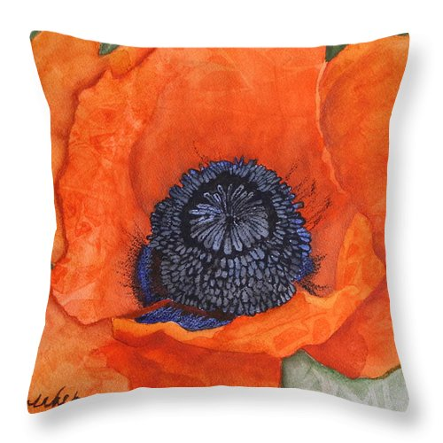 Flower Throw Pillow featuring the painting Orange Pop Watercolor by Kimberly Walker