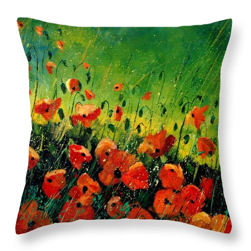 Poppies Throw Pillow featuring the painting Orange Poppies by Pol Ledent