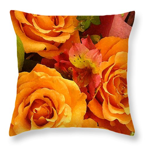 Roses Throw Pillow featuring the painting Orange Roses by Amy Vangsgard